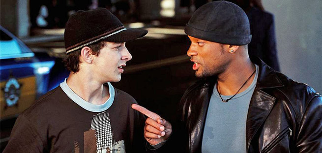Shia LaBeouf with Will Smith in I-Robot (2004). LaBeouf's height is 5'9''.