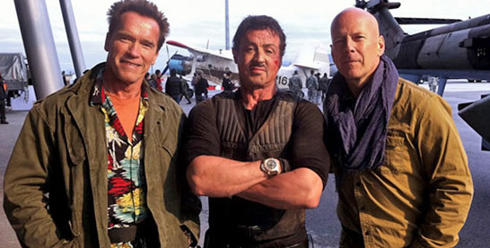 Bruce with Sylvester Stallone and Jean Claude Van Damme in The Expendables 2 (2012). Willis's height is 6'0''.