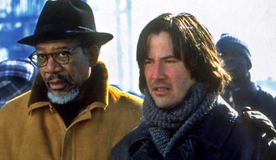 Keanu Reeves with Morgan Freeman. Keanu's height is 6'1''.