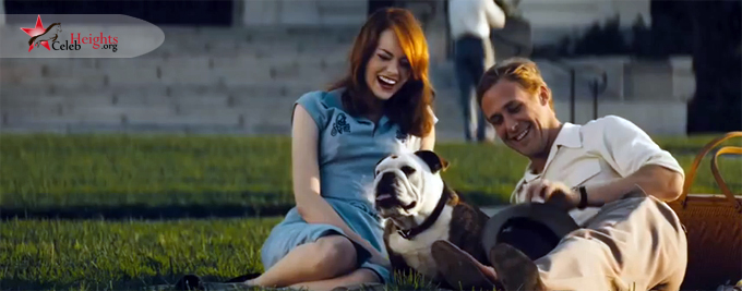 Emma Stone (height with Ryan Gosling (height  in Gangster Squad (2013)