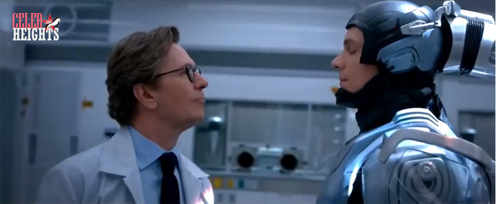 Gary Oldman (height 5'8.5'') with  Joel Kinnaman (height 6'2.5'') in RoboCop (2014)