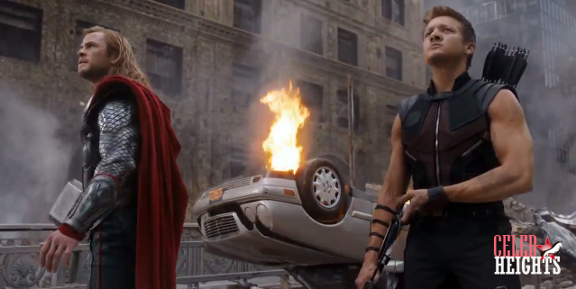 Jeremy Renner (height 5'10'') with Chris Hemsworth (height 6'3'') in The Avengers (2012)