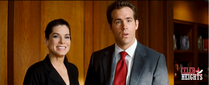 Ryan Reynolds (height 6'2'') with  Sandra Bullock (height 5'7.5'') in The Proposa (2009)