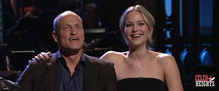 Woody Harrelson (height 5'9.5'') with Jennifer Lawrence (height 5'9'')