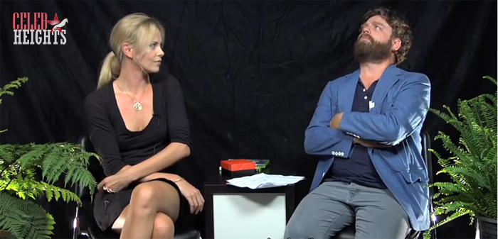 Zach Galifianakis (height 5'7'') with  Charlize Theron (height 5'9.5'') in Funny or Die