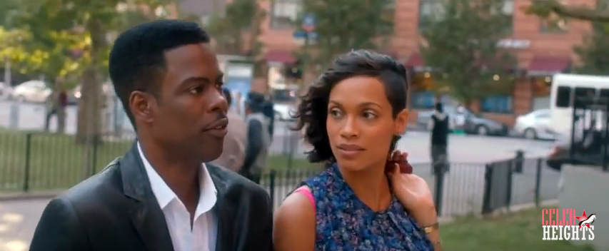 Chris Rock (5'10'') with Rosario Dawson (5'7'') in Top Five (2014)
